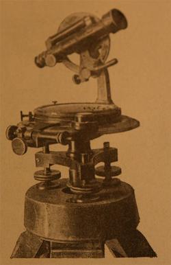 Теодолит с металлическим лимбами на одной опоре,  с буссолью. Россия, Варшава, Г.Герлях, 1900-15 гг.